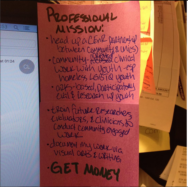 post-its outlining my professional mission - let's get it LA!